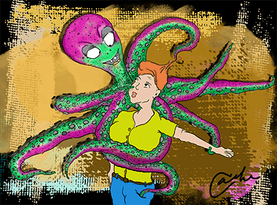 Shannon Kernaghan octo-drawing-400 Stay Young, Cinderella Adventure Challenge Comedy Dating Fun Humor Lifestyle Love Memories Parties Relationship Risk Sex  turtleneck shannon kernaghan romance ride the wave restaurant dates octopus mr.right hickeys dating curfew cinderella audio story adventure 40 plus female